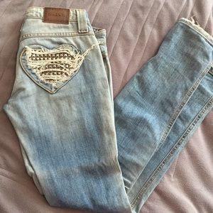 FRANKIE B studded heart jeans